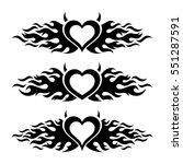 black vector flaming heart love ... | Shutterstock .eps vector #551287591