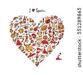 spain love  art heart shape.... | Shutterstock .eps vector #551289865