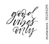 good vibes only postcard. ink... | Shutterstock .eps vector #551292295