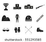 biathlon. silhouette icon set...