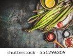 green asparagus preparation... | Shutterstock . vector #551296309