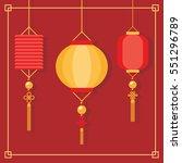 chinese lanterns hanging flat...   Shutterstock .eps vector #551296789