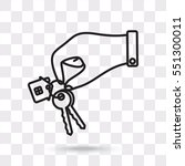 line icon   hand with keys | Shutterstock .eps vector #551300011