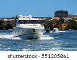 a luxurious powerboat cruising...   Shutterstock . vector #551305861
