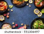 thai food background. dishes of ... | Shutterstock . vector #551306497