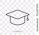 line icon  graduation cap | Shutterstock .eps vector #551307691