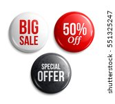 set of glossy sale buttons or... | Shutterstock .eps vector #551325247