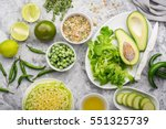 farm green vegetables on gray... | Shutterstock . vector #551325739