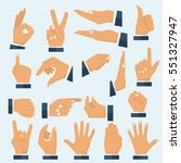 set hands in different gestures.... | Shutterstock .eps vector #551327947