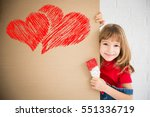 happy child painting big red... | Shutterstock . vector #551336719