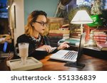 business woman in old library... | Shutterstock . vector #551336839