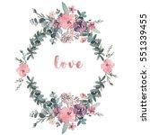 watercolor floral illustration... | Shutterstock . vector #551339455