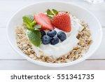 morning healthy breakfast with... | Shutterstock . vector #551341735