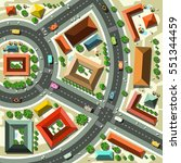 aerial top view flat design... | Shutterstock .eps vector #551344459