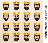 set of cute king emoticons.... | Shutterstock .eps vector #551344681