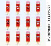 set of cute pencil emoticons.... | Shutterstock .eps vector #551344717