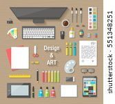 workplace collection concept... | Shutterstock .eps vector #551348251