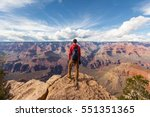 travel in grand canyon  man... | Shutterstock . vector #551351365