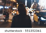 hipster girl in black leather... | Shutterstock . vector #551352361