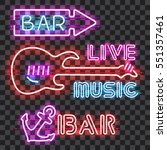 Set Of Glowing Bar Neon Signs...