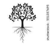 black tree with roots. vector...   Shutterstock .eps vector #551357695