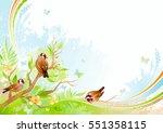 spring background. tree branch... | Shutterstock .eps vector #551358115