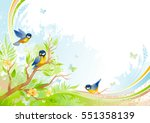 spring background. tree branch... | Shutterstock .eps vector #551358139