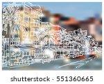 panorama illustration. hand... | Shutterstock .eps vector #551360665