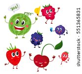set of cute and funny berry... | Shutterstock .eps vector #551365831