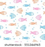 funny fish outline pattern on... | Shutterstock .eps vector #551366965