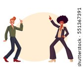 two guys  in afro wig and with... | Shutterstock .eps vector #551367391