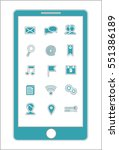 blue smartphone menu icons... | Shutterstock .eps vector #551386189