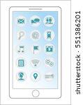 smartphone menu icons vector... | Shutterstock .eps vector #551386201