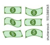 set of dollar bills  icon .... | Shutterstock .eps vector #551388565