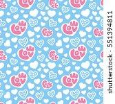 hearts seamless pattern... | Shutterstock . vector #551394811