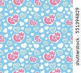 hearts seamless pattern... | Shutterstock .eps vector #551394829
