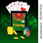 casino background with tablet ... | Shutterstock .eps vector #551407525