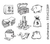 black and white money set. safe ... | Shutterstock .eps vector #551412289