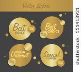 gold stickers set vector... | Shutterstock .eps vector #551413921