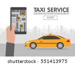 phone with interface taxi on... | Shutterstock .eps vector #551413975