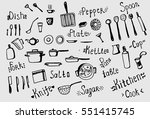 freehand drawing of kitchen... | Shutterstock .eps vector #551415745