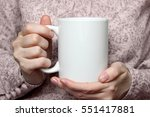 girl is holding white cup in... | Shutterstock . vector #551417881