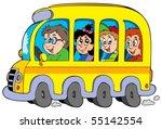 Cartoon School Bus With Kids  ...