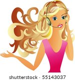 portrait beauty girl with... | Shutterstock .eps vector #55143037