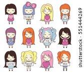 set collections of cute girls...   Shutterstock .eps vector #551444269