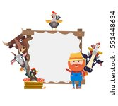 wooden frame design with farm... | Shutterstock .eps vector #551448634