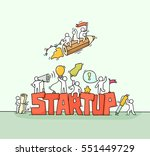 sketch of working little people ... | Shutterstock .eps vector #551449729