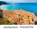 areal view of cefalu  italy.... | Shutterstock . vector #551454754