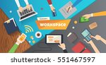 workplace with person working... | Shutterstock .eps vector #551467597