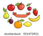 Vector Fruits Set And Ribbon...